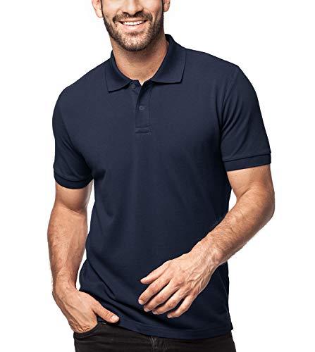 LAPASA Herren 100% Baumwolle Polo Pique Polo Shirt Kurzarm mit Polokragen MEHRWEG M019 (M (letzter Abbildung zufolge), Navy (neu)) (Shirt Blau Herren Navy)