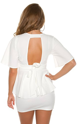 Elegantes Cocktail-Blusenshirt mit Rücken-Cutout und Schößchen Weiß