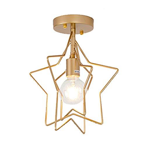 Lampara del Techo Estrella/Redondo Hierro, Iluminación colgante Moderna,Luz de techo,Lámparas E27 de diamante para Casa, Habitacion, Dormitorio (Oro, Estrella)
