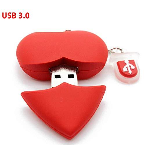 Heart Shaped Usb (YOROSHI USB 3.0 Red Heart-Shaped USB-Stick Pen Drive Beauty Memory Stick Schönes Geschenk für Mädchen)