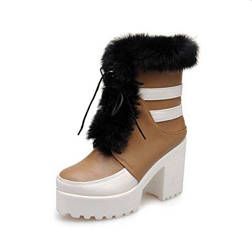 VogueZone009 Damen Niedrig-Spitze Gemischte Farbe Schnüren Hoher Absatz Stiefel, Cremefarben, 41