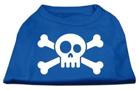 Mirage Pet Products Schädel Gekreuzten Knochen Bildschirm Print Shirt, klein, blau -
