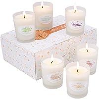 Anjou Bougies Parfumées d'Aromathérapie Set Cadeau 6 Cire de Soja 15 Heures de Temps de Combustion par Bougie Cadeau de Noël 6 x 70 g pour Soulager le Stress
