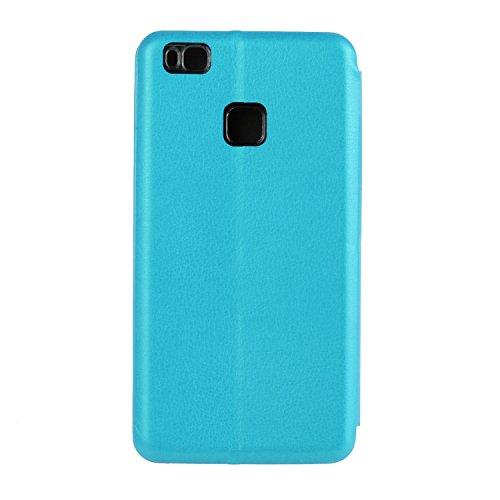 YHUISEN Solid Color Premium-PU-Leder und weicher TPU Gummischutz Mappen-Entwurfs-Flip Folio Case Schutzhülle mit Karten-Slot / Stand für Huawei P9 Lite ( Color : Black ) Blue