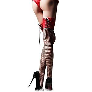 Zarupeng Donne calze a rete pizzo fascia vuoto moda Lingerie Biancheria delle donne popolari Autoreggenti aderente Reggicalze sexy Calze (Taglia unica, rosso)