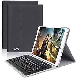 Clavier Bluetooth iPad Coque 9.7,AZERTY français, Housse Clavier pour iPad 2018/2017, iPad Pro 9.7, iPad Air 2/1, Clavier Bluetooth sans Fil Slim Etui Smart Réveil/Sommeil Automatique (Noir/Gris)