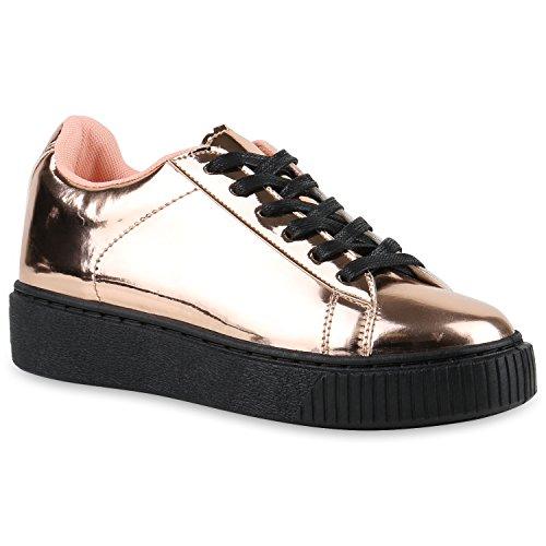 1ecdda09908b Plateau Sneakers   Damen Sneaker Low   Glitzer Metallic Schuhe    Sportschuhe Strass   Turnschuhe Lack