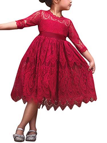 (Minetom Herbst Winter Kleid 3/4-Arm Spitze Kleider Mädchen Elegant Polka Dots Faltenrock mit Gürtel Bowknot Geschenke für Kinder Baby C Rot 110)
