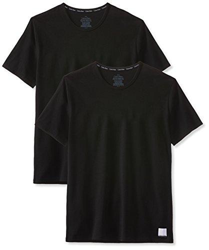 Calvin Klein Herren 2p S/s Crew Neck T SLI T-Shirt, Schwarz (Black/Black), Small (2er Pack)