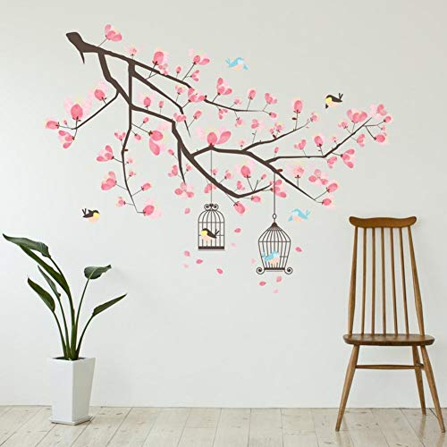 Wand Sticker Zweig Cherry Blossom Wandkunst Wandmalerei Entfernbarer selbstklebend Aufkleber Kinderzimmer Kindergarten Kinderzimmer Restaurant Café Hotel Wohndeko (Malerei Cherry Blossom)