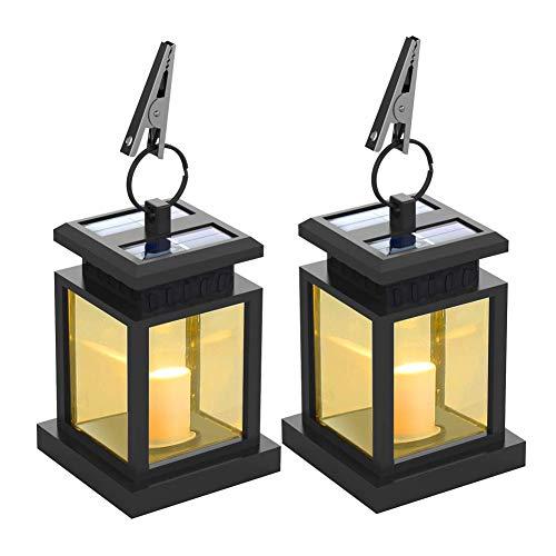 QZY Solar Laterne, LED Outdoor Kerzenlichter Wasserdicht Wireless Patio Weißes Licht Haus Landschaft Lampe Kerze Flimmern Auto Sensor An Aus Für 2 STÜCKE,2PCS