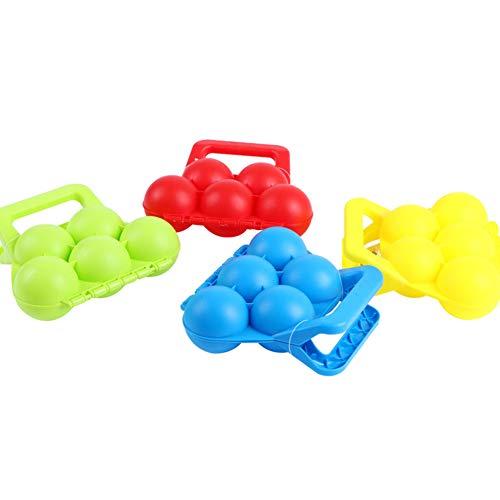 DERKOLY Winter Schneebälle Maker, Fun Winter Outdoor Sport und Aktivitäten, Werkzeug für Schnee Ball Kämpfe, Scoop Clip Kinder Spielzeug, zufällige Farbe (rot gelb blau grün), 5 Schneebälle auf einmal Random Color