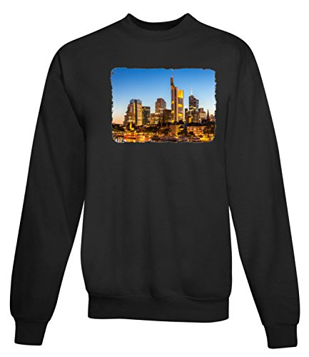 Billion Group | Germany Frankfurt Skyline | City Collection | Women's Unisex Sweatshirt Noir