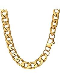 PROSTEEL Collar para Hombre Cadena Cubana 7 longitud Opcional Dorado/Negro/Plateado, Ancho 4mm/6mm/9mm/13mm