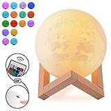 Lampe Lune Image Personnalisée en 3D, Veilleuse Lumière de lune imprimée en 3D avec support, Télécommande dimmable, réglable la nuit décorative pour enfants chambre (22 cm)