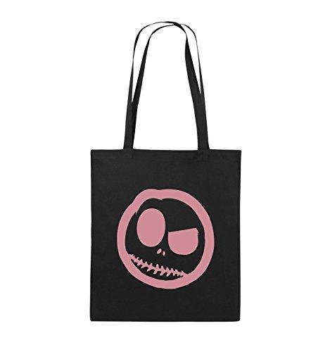Borse Comiche - Male Smily - Fumetto - Borsa Di Juta - Manico Lungo - 38x42cm - Colore: Nero / Rosa Nero / Rosa