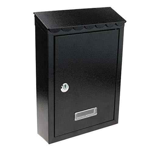 PrimeMatik - Boîte aux Lettres métallique coloré Noir Mur 210 x 60 x 300 mm