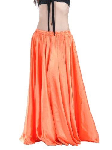 Dance Fairy Satin langen Rock mit elastischem Bund, Frau, Tanzkostüm, orange, (Medium Drama Kostüm)