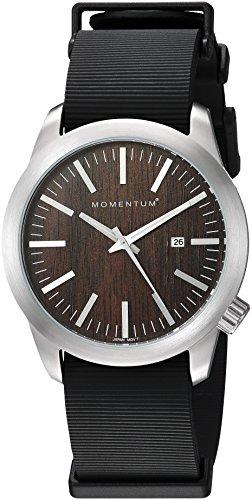Momentum Men's 'Logic 42' Quartz Stainless Steel and Rubber Dress Watch, Color:Black (Model: 1M-SP10C11B)