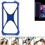 K-S-Trade® Bumper Für Archos Oxygen 57 Silikon Schutz Hülle Handyhülle Silikoncase Softcase Cover Case Stoßschutz, Blau (1x),