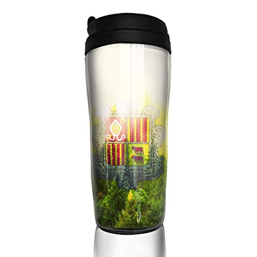 Travel Coffee Mug Andorra Flag with Forest 12 Oz Spill Proof Flip Lid Water Bottle Environmental Protection Material ABS