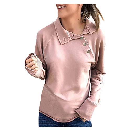 Kolila Damen Langarmshirts Bluse Einzigartiger Ausschnitt Design Lässige Einfarbig Taste Rollkragen Pullover Tunika Sweatshirt