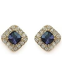 Pendientes chapados en oro, óxido de circonio y piedra sintético, cuadrado, rombo con brillantes, diseño de brillantes, color blanco y azul-Soporte para joyas, diseño de mujer