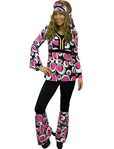 Yummy Bee 1960er 70er Hippie Karneval Fasching Kostüm Damen Blumenkind Größe 34 - 46 (Rosa,46)