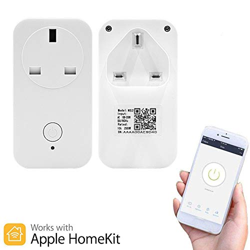 Smart Wireless Plug WiFi Remote Control Timing Smart Outlet UK Power Socket APP Voice Control,Compatible with Apple Homekit Alexa Google Home Amazon Echo,No Hub Required (UK)