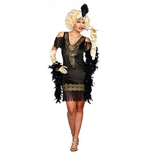 3154be7aa2 Premium Bodywear AG Disfraz de Charleston para Mujer Vestido Negro Dorado