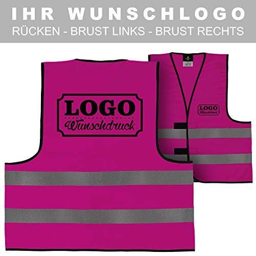 e Sicherheitsweste bedruckt mit Wunschlogo Name Text Motiv PINK Rücken (290 x 210 mm) ()