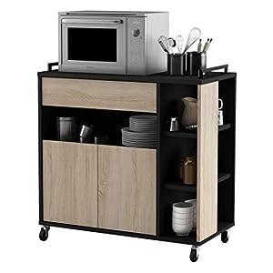 habeig Küchenwagen Eiche #283 mit schwarz Küchentrolley Schublade Holz Rollen