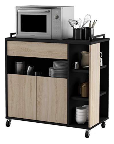 habeig Küchenwagen Eiche #283 mit schwarz Küchentrolley Schublade Holz Rollen -