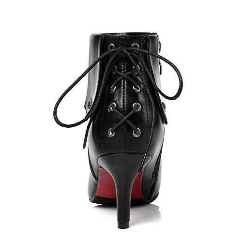 VogueZone009 Damen Stiletto Reißverschluss Niedrig-Spitze Blend-Materialien Stiefel, Schwarz, 40