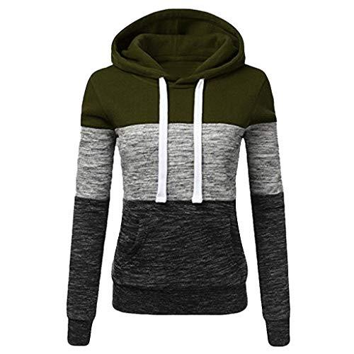 TOPKEAL Hoodie Pullover Damen Herbst Winter Kapuzenpullover Sweatshirt Lässige Winterpullover Patchwork Jacke Mantel Tops Mode 2018 (XXL, Armeegrün)