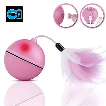 Jouet Chat - Balle à rouler automatique, Chargement USB Jouet Exercice à LED, Boule Auto-Rotative à 360 Degrés, avec Plume Détachable pour Animal de Compagnie