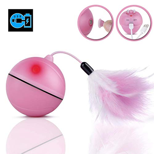 WLMall KatzenSpielzeug elektrisch Ball, eingebautem Akku [USB-Ladevorgang] 360 Grad-selbstdrehender Ball, LED Licht - Abnehmbarer Feder Interaktives Spielzeug -