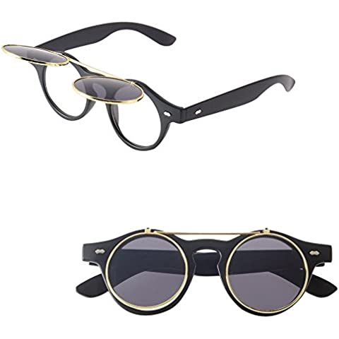 Nero Hot Steampunk occhiali retro flip up occhiali da sole rotondi Vintage Nero Occhiali mondo Eye Wear