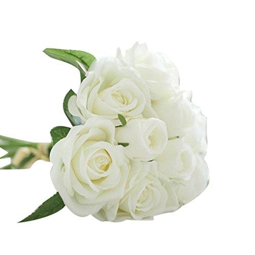 Mitlfuny Unechte Blumen,9 Köpfe Kunstseide Gefälschte Blumen Leaf Rose Wedding Floral Tulip Bouquet Floral Blumen Lotus Bouquet Floral Chrysantheme Floral Blüten Floral Hochzeitsstrauß Blatt Rose mit Blumen Gefälschte Blumen Seidenrosen - Lila Silk Flower Bouquet