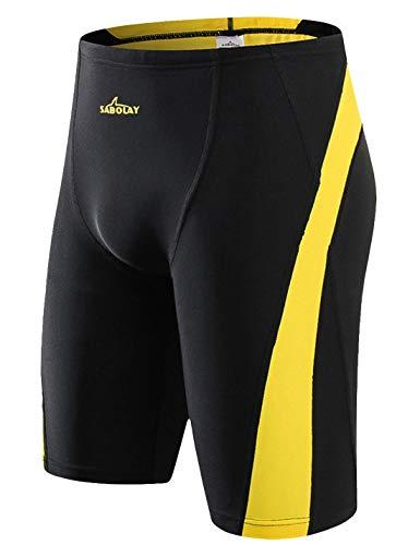 SABOLAY Männer UV-Schutz Störsender Taucherhose Schnelltrocknende Badehose Kurze Sonnenschutz Strandhose Schwarz XL