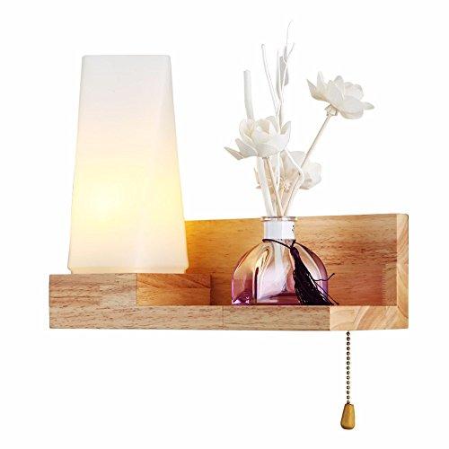 Modernes, minimalistisches Wohnzimmer Glas Lampenschirm Wandleuchte Schlafzimmer kreative Bett Flur Holz Einzel Kopf Wandleuchte, Links (Einzel-metall-loft-betten)