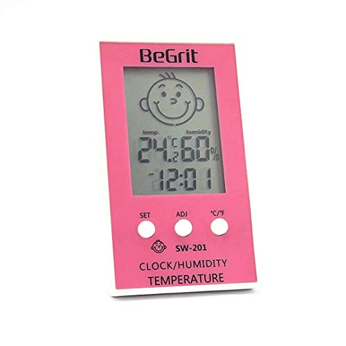 BeGrit Innen Hygrometer Thermometer für Baby-Raum-Temperatur Feuchtigkeit Feuchte Überwachung, digital einfach Sofort mit Lächeln/Unhappy Emotion Icon lesen