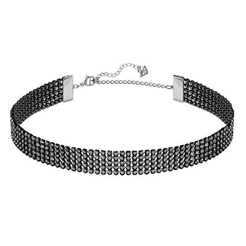 Swarovski Fit Halskette, schwarz, rutheniert