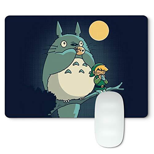 Tapis de souris Zelda X Totoro Forest Music - Tapis de souris Gamer souple Caoutchouc naturel noir - 27 cm x 19 cm x 0,5 cm