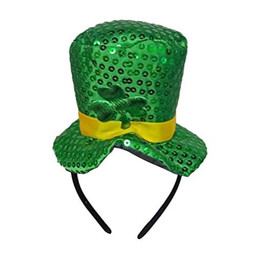 Amosfun St Patrick Tag Kleeblatt Pailletten Stirnband Grün Klee Hut Haarband Mini Kopf Schnalle Kopfschmuck für Urlaub Party Dekoration 1 STÜCKE ()
