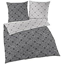 Soma franela reversible cama de 2piezas funda nórdica de 135x 200cm 80x 80cm funda de almohada estrellas gris