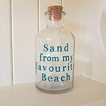 Botella de cristal arena de mi favorito playa vacaciones playa botella con tapa de corcho