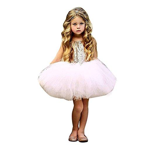 Lonshell_Hochzeit Kleid Kinder Mädchen Party Prinzessin Kleider Ärmellos Heart Sequins Tutu Tüll Kleid Outfits A-Linie Minikleid Abendkleid (Rosa, 100)