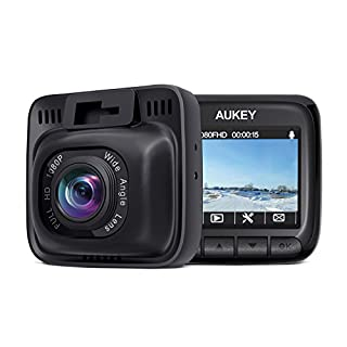AUKEY Dash Cam Full HD 1080P Dash Camera for Cars with Supercapacitor and 6-Lane 170 Degrees Wide Angle Lens Car Camera with 2 inches LCD, G-Sensor, Motion Detection, Dual-Port Car Charger