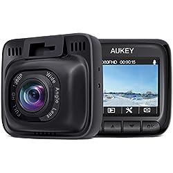 AUKEY Dash Cam FHD 1080P Telecamera per Auto con Obiettivo Grandangolare di 170° Super-Condensatore WDR Visione Notturna Dashcam con Registrazione in Loop G-Sensor e Caricatore USB da Auto a 2-Porta